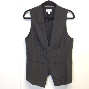 Ann Taylor Vest Jacket Blazer Gray Striped Sz M